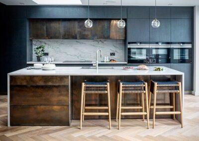 kitchen in brass bronze